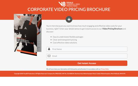 Screenshot of Pricing Page visual8.co.uk - Corporate Video Pricing Brochure   Birmingham & Midlands - captured Oct. 20, 2018