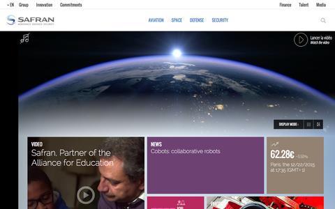 Screenshot of Home Page safran-group.com - Safran is a leading international high-technology group. - captured Dec. 22, 2015