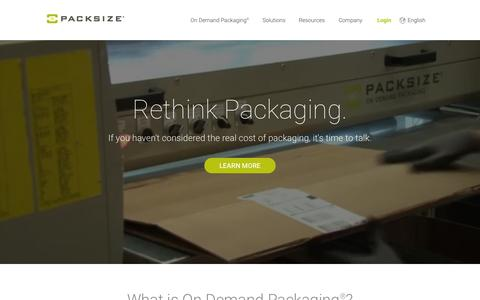 Screenshot of Home Page packsize.com - Packaging Solutions | Custom Product Packaging | Packsize - captured Nov. 3, 2015
