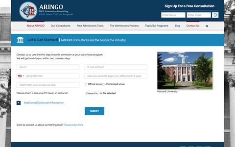 Screenshot of Contact Page aringo.com - ARINGO registration page in order to get started - captured Nov. 10, 2019