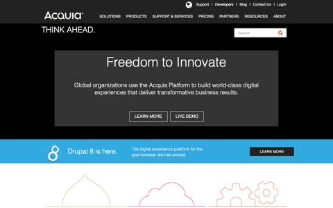 Screenshot of Home Page acquia.com - CMS Platform for Content, Community, Commerce | Acquia - captured Nov. 28, 2015