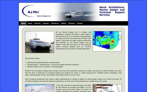 Screenshot of Home Page adhocmarinedesigns.co.uk -   Ad Hoc Marine Designs - captured Oct. 4, 2014