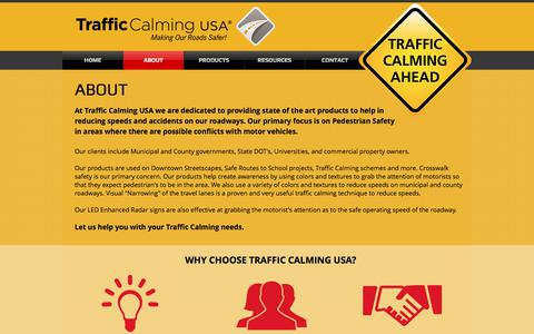 Screenshot of About Page trafficcalmingusa.com - Traffic Calming USA | About - captured Nov. 8, 2017