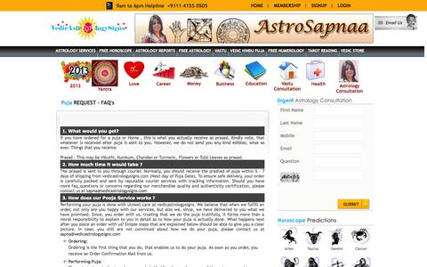 Screenshot of FAQ Page vedicastrologysigns.com - Vedic Pooja,Personalised Hindu Puja,Astrological Worship Communicating with the God - captured Oct. 4, 2014