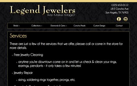 Screenshot of Services Page legendjewelers.com - Services :: Legend Jewelers - captured June 17, 2016