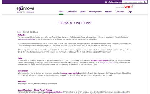 Screenshot of Terms Page ezimove.com - Moving insurance with ezimove.com, backed by Vero Insurance NZ - captured Oct. 19, 2018