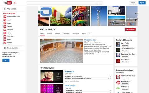 Screenshot of YouTube Page youtube.com - OKcommerce  - YouTube - captured Oct. 26, 2014