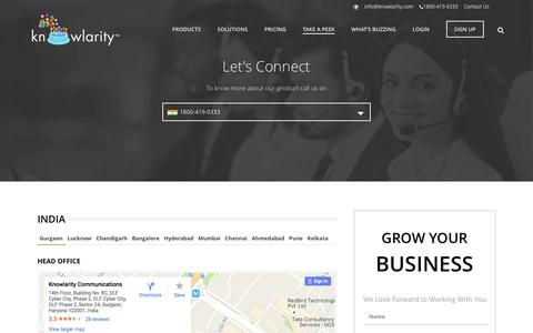 Screenshot of Contact Page knowlarity.com - Contactus |Cloud Based Customer Solutions Center - Knowlarity.com - captured Oct. 24, 2016