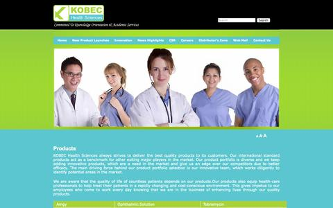 Screenshot of Products Page kobeconline.com - Products | KOBEC Health Sciences - captured Oct. 6, 2014