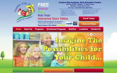 Screenshot of Home Page ckakids.com - Minneapolis Twin Cities Child Care | Creative Kids Academy - captured Jan. 23, 2015