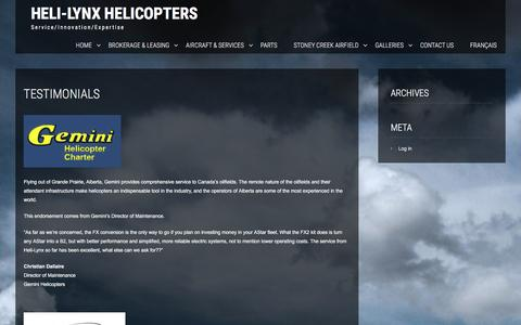 Screenshot of Testimonials Page helilynx.com - Testimonials | Heli-Lynx Helicopters - captured Jan. 28, 2016