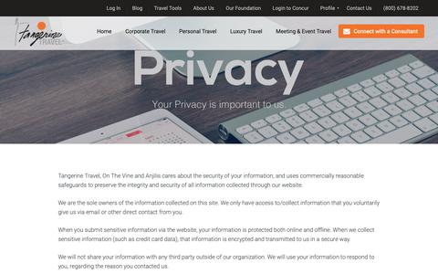 Screenshot of Privacy Page tangerinetravel.com - Privacy Policy | Tangerine Travel - captured Oct. 20, 2018