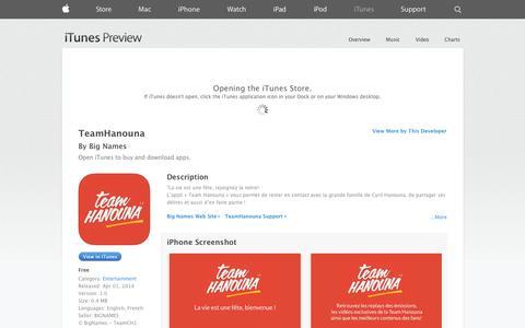 Screenshot of iOS App Page apple.com - TeamHanouna on the App Store on iTunes - captured Nov. 4, 2014