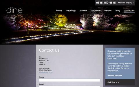 Screenshot of Contact Page dine.co.uk - Contact Dine Online Or Call Us On 0845 450 4545 - captured Sept. 23, 2014