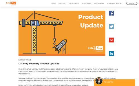Screenshot of Blog datahug.com - Datahug February Product Updates - Datahug - captured Nov. 12, 2019