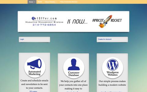 Screenshot of Home Page netoffer.com - Apricot Rocket - NetOffer - Digital Marketing Management Systems - captured Oct. 4, 2014