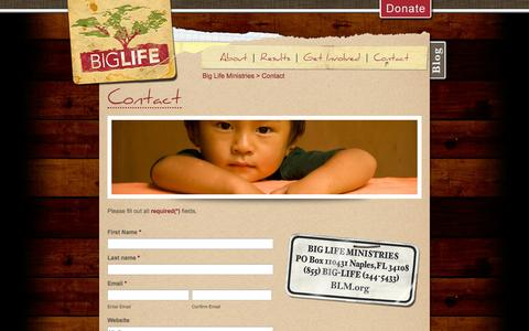Screenshot of Contact Page blm.org - Contact » Big Life Ministries - captured Oct. 5, 2014