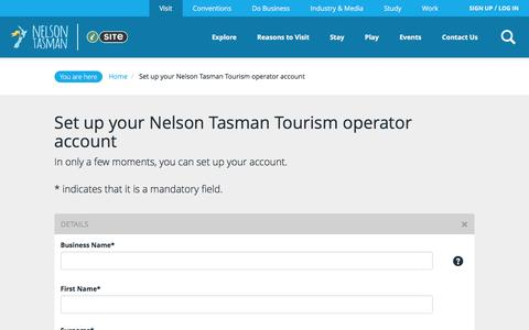 Screenshot of Signup Page nelsonnz.com - Set up your Nelson Tasman Tourism operator account - captured Feb. 14, 2016