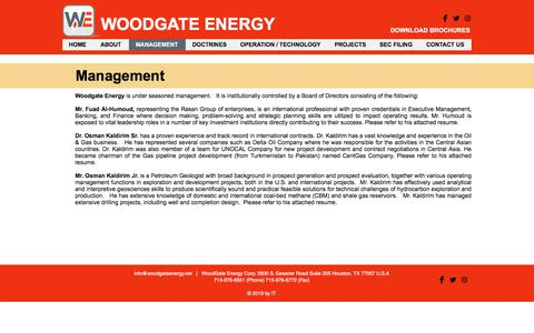 Screenshot of Team Page woodgateenergy.net - Woodgateenergy | MANAGEMENT - captured Sept. 21, 2018