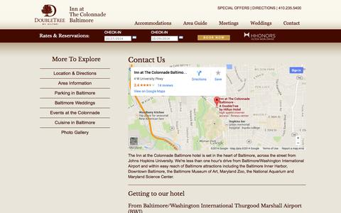 Screenshot of Contact Page Maps & Directions Page colonnadebaltimore.com - Baltimore Hotel Contact Information | Inn at The Colonnade Baltimore, A Doubletree Hotel Hotel - captured Oct. 25, 2014