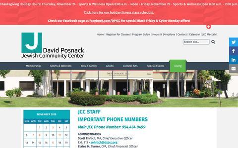 Screenshot of Contact Page dpjcc.org - David Posnack JCC - JCC Staff - captured Nov. 23, 2016