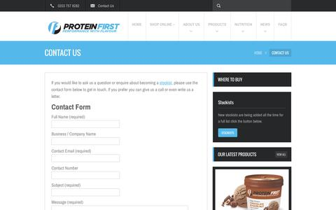 Screenshot of Contact Page proteinfirst.com - Contact Us - Protein FirstProtein First - captured Oct. 3, 2014