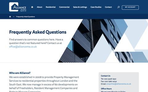 Screenshot of FAQ Page alliancema.co.uk - Frequently Asked Questions | Alliance Managing Agents Ltd - captured Nov. 20, 2016