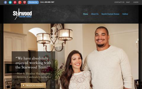 Screenshot of Home Page starwoodcustom.com - Starwood Custom Home Builders AZ | Superior Quality, Unique Designs - captured June 18, 2015