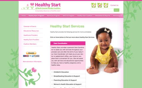 Screenshot of Services Page healthystartncf.org - Services Provided | Healthy Start of North Central Florida Coalition - captured Oct. 2, 2014