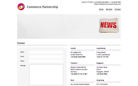 Screenshot of Contact Page commerce-partnership.com - Commerce Partnership - Contact | Commerce Partnership - captured Oct. 2, 2014