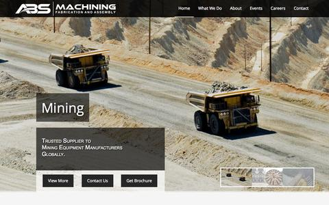 Screenshot of About Page absmachining.com - Machining, Fabrication, Assembly | Texas & ONTARIO - captured Sept. 26, 2015