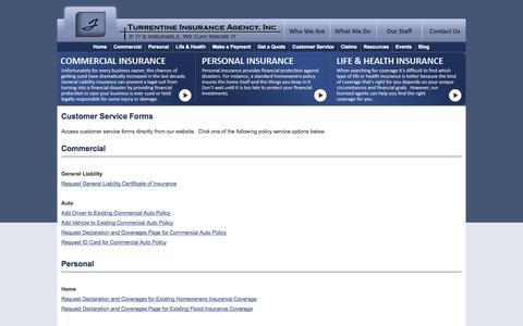 Screenshot of Support Page turrentine.com - Customer Service Forms - Turrentine Insurance Agency, Inc. - captured Oct. 7, 2014