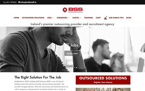 Screenshot of Home Page buildstaff.ie - Ireland's premier outsourcing provider and recruitment agency - BSS Recruitment - captured Oct. 11, 2017