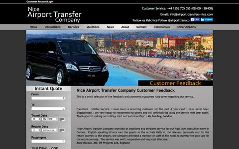 Screenshot of Testimonials Page airport-transfers-nice.com - Nice Airport Transfer Company Client Feedback - captured March 14, 2016