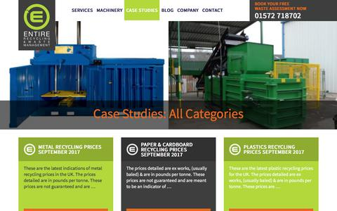 Screenshot of Case Studies Page entirerecycling.co.uk - All Categories Archives - Entire Recycling - captured Sept. 26, 2018