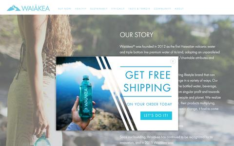 Screenshot of About Page Contact Page waiakeasprings.com - Our Story | Press | Awards | Contact | FAQ | Waiakea Water - captured Oct. 24, 2016