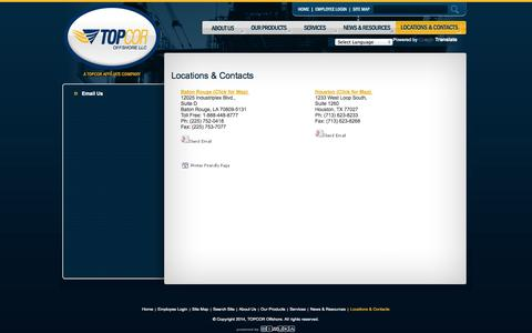 Screenshot of Contact Page Locations Page topcoroffshore.com - Topcor Offshore LLC | locations - captured Oct. 24, 2014