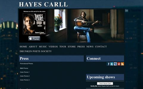 Screenshot of Press Page hayescarll.com - Press | Hayes CarllHayes Carll - captured Sept. 29, 2014