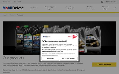 Screenshot of Products Page mobil.com - Engine oil   Grease   Antifreeze  Mobil Delvac™ Products - captured Feb. 19, 2018