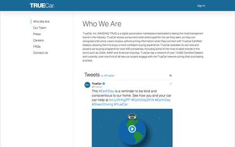 Screenshot of About Page truecar.com - TrueCar - captured April 30, 2018