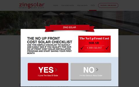 Screenshot of FAQ Page zingsolar.com - Questions about going solar? - Zing Solar - captured Feb. 23, 2016
