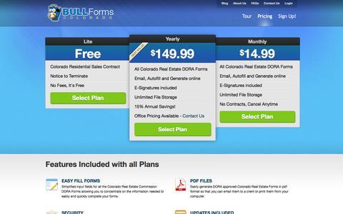 Screenshot of Pricing Page bullformscolorado.com - BULL Forms Colorado | 3 Simple Pricing Plans - captured Sept. 30, 2014