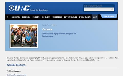 Screenshot of Jobs Page universalremote.com - Careers - Universal Remote Control - captured Oct. 14, 2017