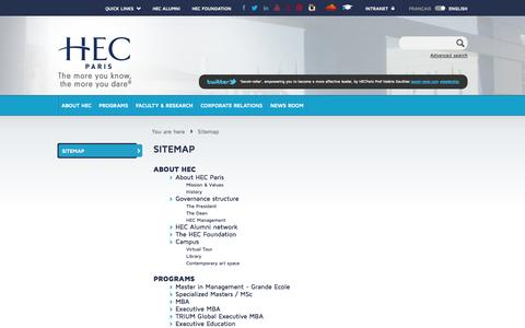 Screenshot of Site Map Page hec.edu - HEC Paris - captured Sept. 23, 2014