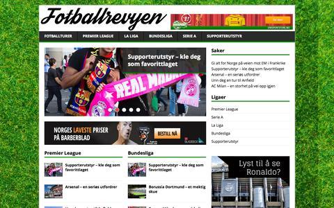 Screenshot of Home Page fotballrevyen.no - Fotballrevyen | Fotballreiser til de største ligaene - captured Oct. 11, 2015