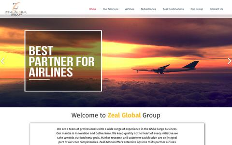 Screenshot of Home Page zeal-global.com - Wide range of experience in the GSSA Cargo business - captured Oct. 26, 2017