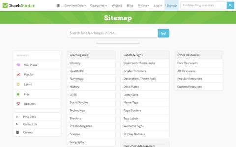 Screenshot of Site Map Page teachstarter.com - Teach Starter Sitemap - captured June 12, 2017