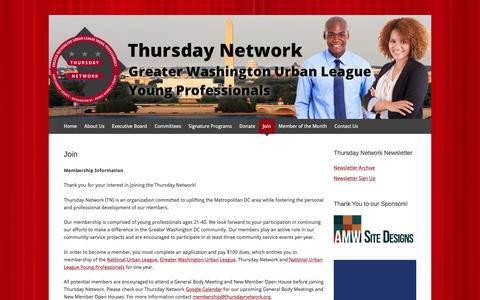 Screenshot of Signup Page thursdaynetwork.org - Join | Thursday Network - Greater Washington Urban League Young Professionals - captured Nov. 15, 2016