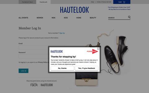 Screenshot of Login Page hautelook.com - Hautelook - captured Oct. 21, 2017