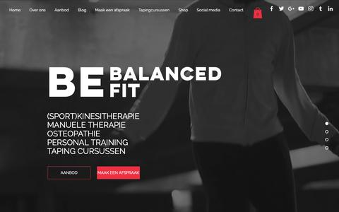Screenshot of Home Page bebalancedbefit.be - Kinesitherapie & Osteopathie - Be Balanced Be Fit - Hasselt - captured Oct. 5, 2018